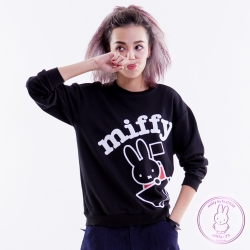 miffy X 2% 米飛圖樣長袖上衣_黑