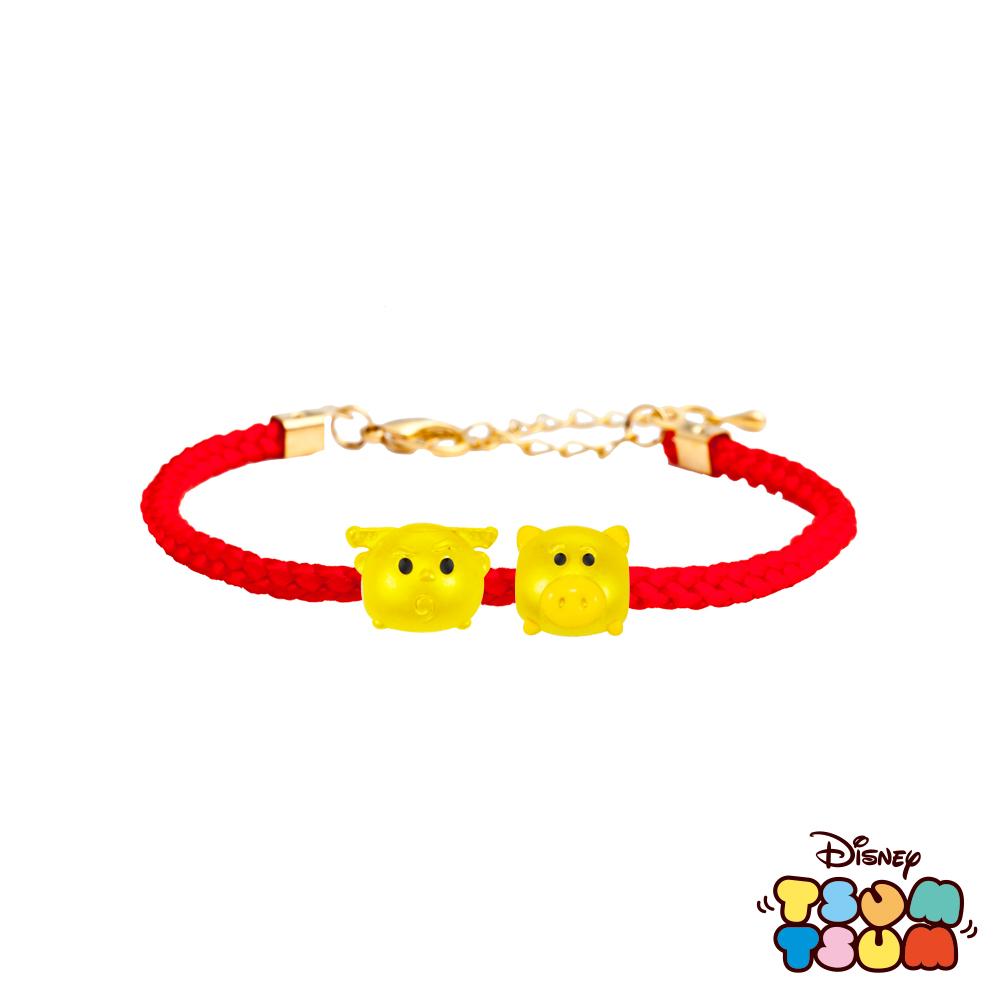 Disney迪士尼TSUM TSUM系列金飾 黃金編織手鍊-巴斯光年+火腿款