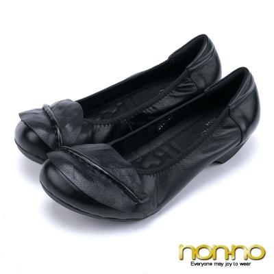 nonno-質感真皮-葉片造型彈性邊娃娃鞋-黑