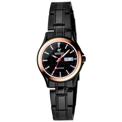 MIRRO 浪漫時光格紋時尚腕錶-IP黑/玫瑰金框-28mm