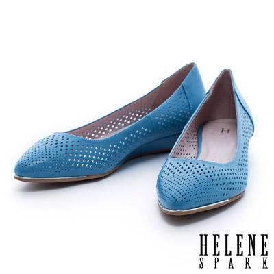 HELENE-SPARK-金屬風數位沖孔羊皮尖頭楔