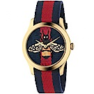 GUCCI G-Timeless精緻刺繡蜜蜂尼龍腕錶/藍紅/1264061