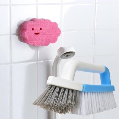 【特惠組】日本AISEN黏貼式雲朵浴室海綿刷+兩用磁磚清潔刷