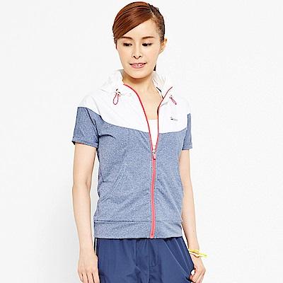 【 TOP GIRL】配色拼接連帽短袖外套-藍