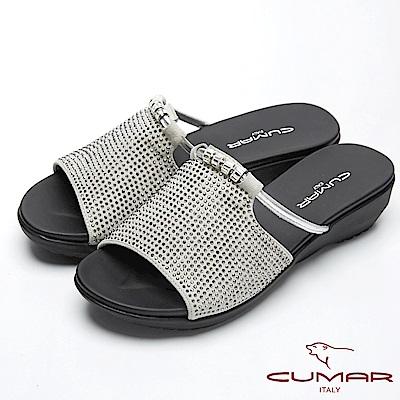 CUMAR閃亮造型-大面積水鑽裝飾真皮拖鞋-灰色