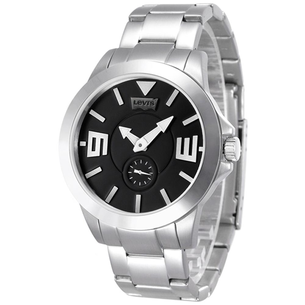Levi s 即刻對戰獨立小秒針手錶-銀黑/鋼帶/42mm