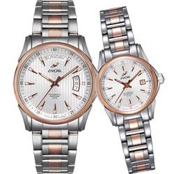 ENICAR 英納格 CH 336傳奇系列自動鍊帶對錶-銀x雙色版/39.5+26mm