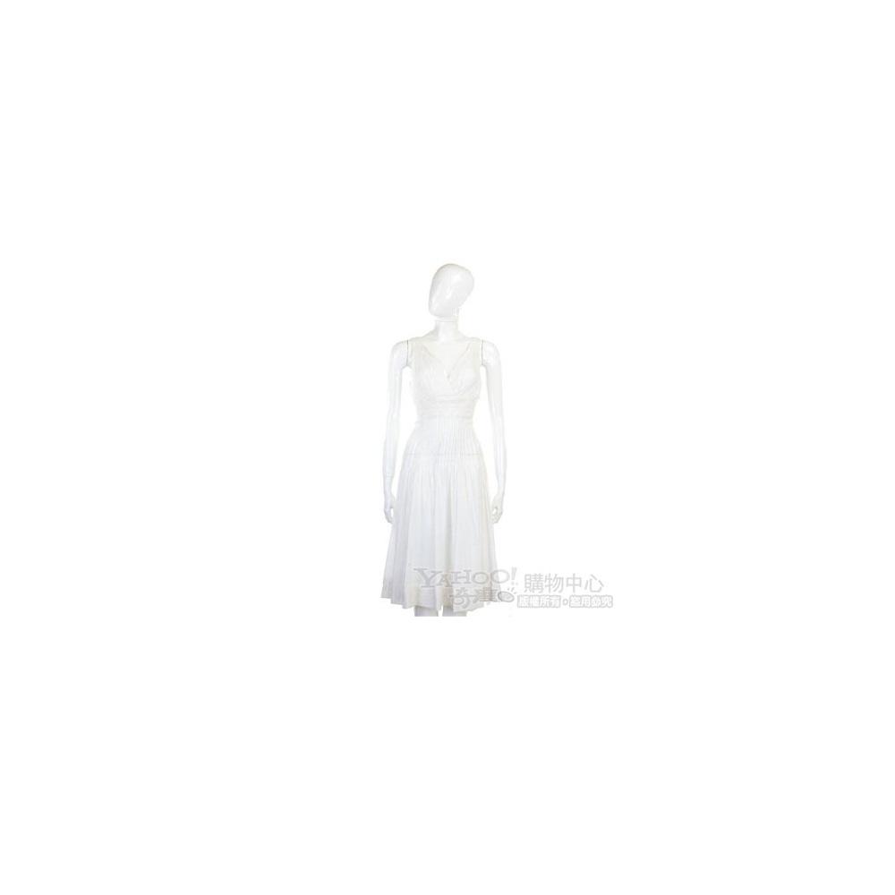 CLASS roberto cavalli 白色抓褶V領無袖洋裝