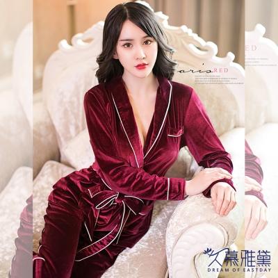 睡衣 金絲絨居家睡衣套裝紅色 久慕雅黛