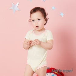 Little moni 涼感系列條紋短袖包屁衣 黃色