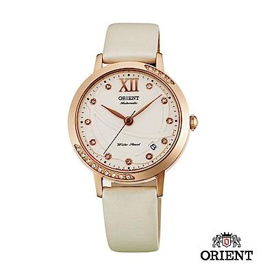 ORIENT 東方錶 ELEGANT系列 永恆耀眼時尚機械錶 絹布錶帶款 白色
