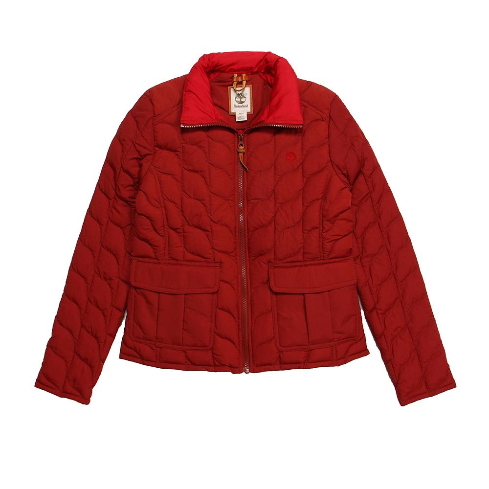 Timberland 女款正紅色雙色翻領鋪棉夾克外套