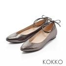 KOKKO-復古優雅V口綁帶真皮平底鞋-星燦銀
