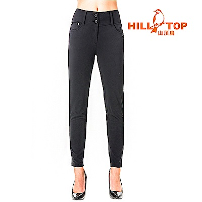【hilltop山頂鳥】女款超潑水抗UV彈性長褲S07FG2-黑美人