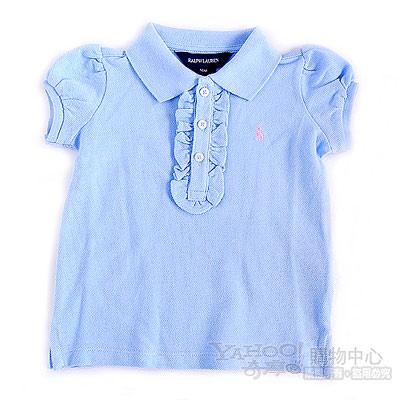 RALPH LAUREN淺藍色荷葉領口POLO衫(9個月)