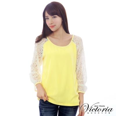 Victoria 蕾絲袖雪紡雙層T-女-鵝黃