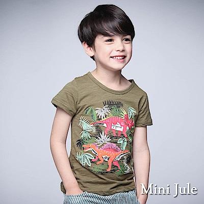 Mini Jule 童裝-上衣 森林恐龍字母短袖T恤(芥綠)