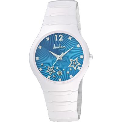 Diadem 黛亞登 甜蜜星空時尚白陶瓷腕錶-藍/36mm