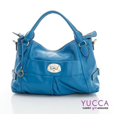 YUCCA - 十字扣牛皮手挽三用包-藍色 D012624