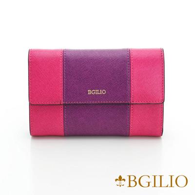 義大利BGilio-十字紋牛皮雙色中夾-紫+桃紅色1951.306-10