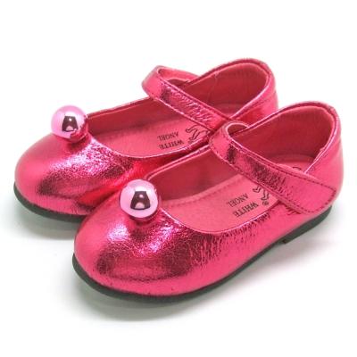 天使童鞋-F5012 金屬爆裂紋公主鞋(小童)-亮麗桃