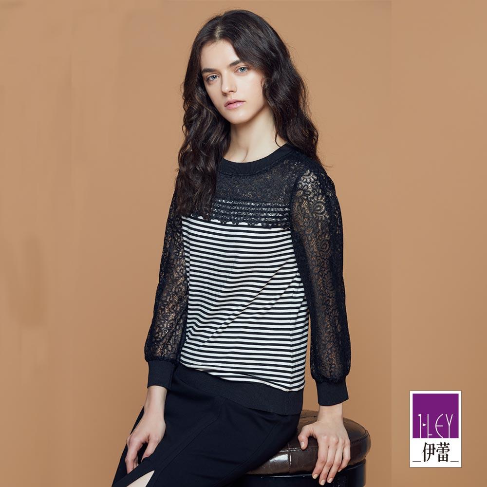 ILEY伊蕾 縷空蕾絲拼接條紋上衣魅力價商品(黑)