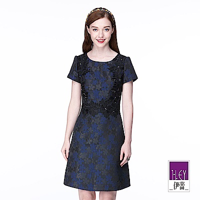 ILEY伊蕾 剪接花卉蕾絲短袖洋裝(藍)