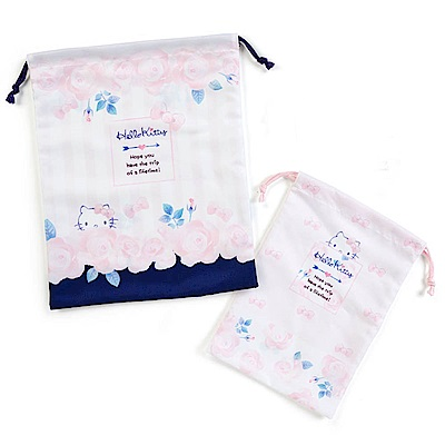 Sanrio HELLO KITTY花漾旅行系列布面縮口袋組(一組2個入)