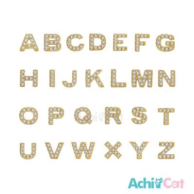 AchiCat 白K耳環 單邊單個 字母遊戲 (金色)
