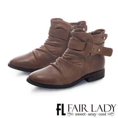 Fair Lady 抓皺感皮革釦帶式平底短靴 駝