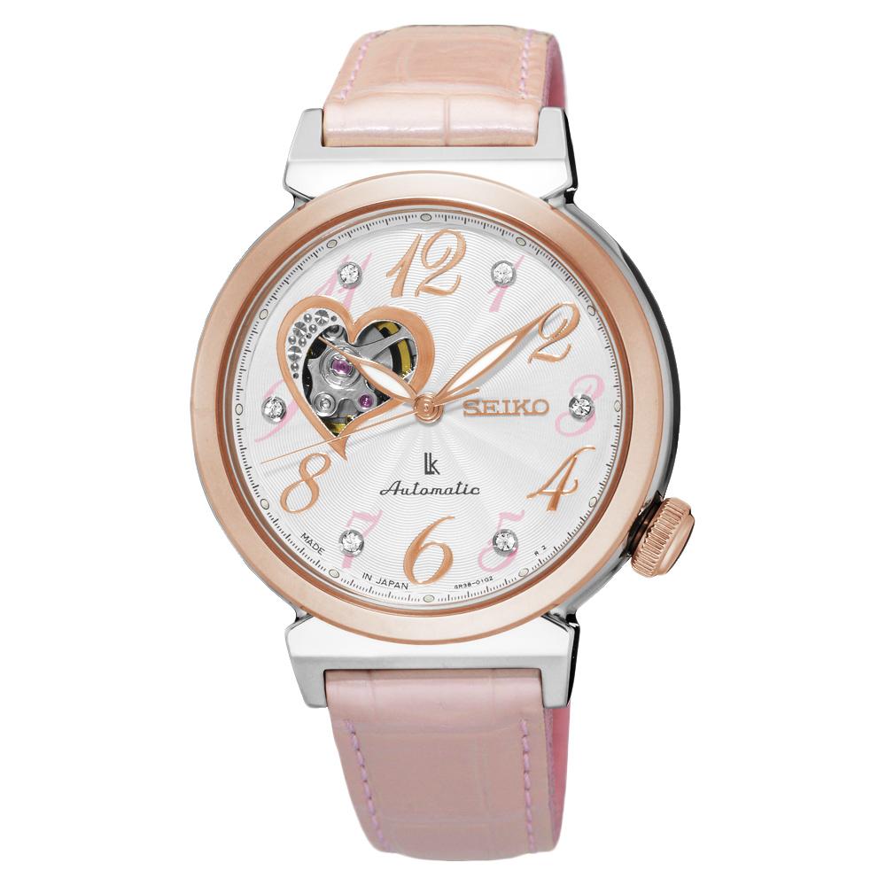 SEIKO LUKIA 愛戀開芯經典機械錶(SSA842J1)-銀x玫塊金框/34.6mm