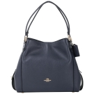 COACH Edie Bag 31 荔紋牛皮三夾層梯型肩背包(深藍色)