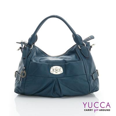 YUCCA - 十字扣牛皮手挽三用包-土耳其藍色 D012671