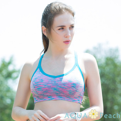 運動內衣 縷線美背緞染無鋼圈內衣 (藍色)-AQUA Peach