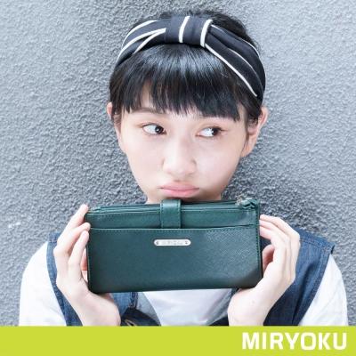 MIRYOKU-質感斜紋系列-質感多夾層釦式長夾