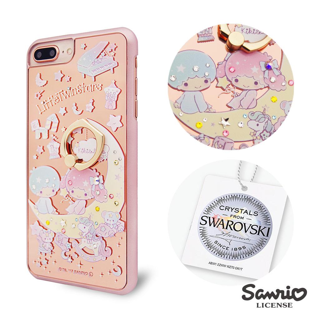 三麗鷗 iPhone8/7/6s Plus 5.5吋施華彩鑽鏡面指環扣手機殼-星月雙子星