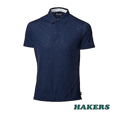 【HAKERS】男- 抗UV短袖POLO衫-丈青