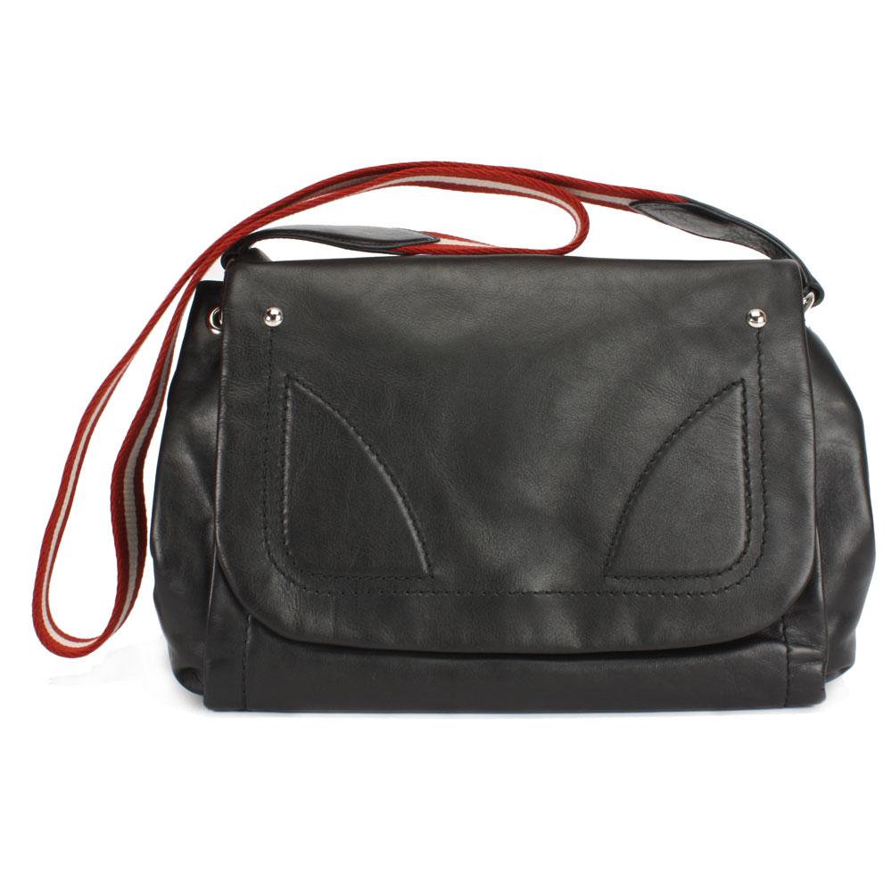 BALLY 經典紅白條紋可拆式肩側兩用包-深咖啡