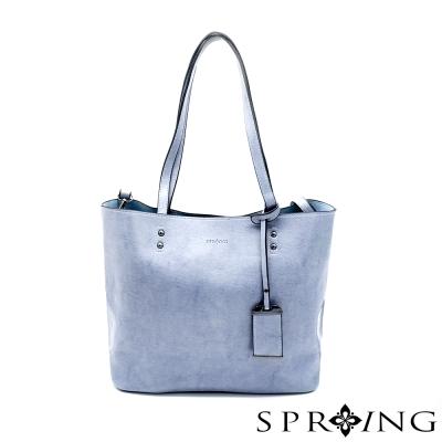 SPRING-優雅生活真皮托特包-清澈藍