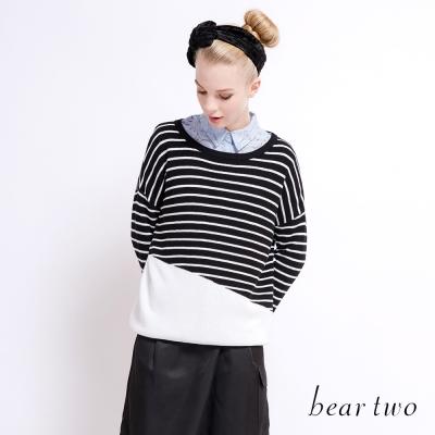 beartwo 暖色系條紋拼色落肩針織上衣(二色)-動態show