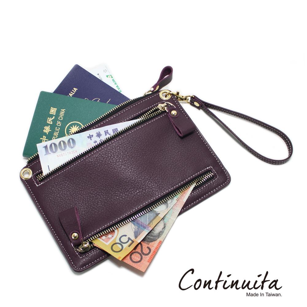Continuita 康緹尼 頭層牛皮全球通用四國貨幣包-紫色
