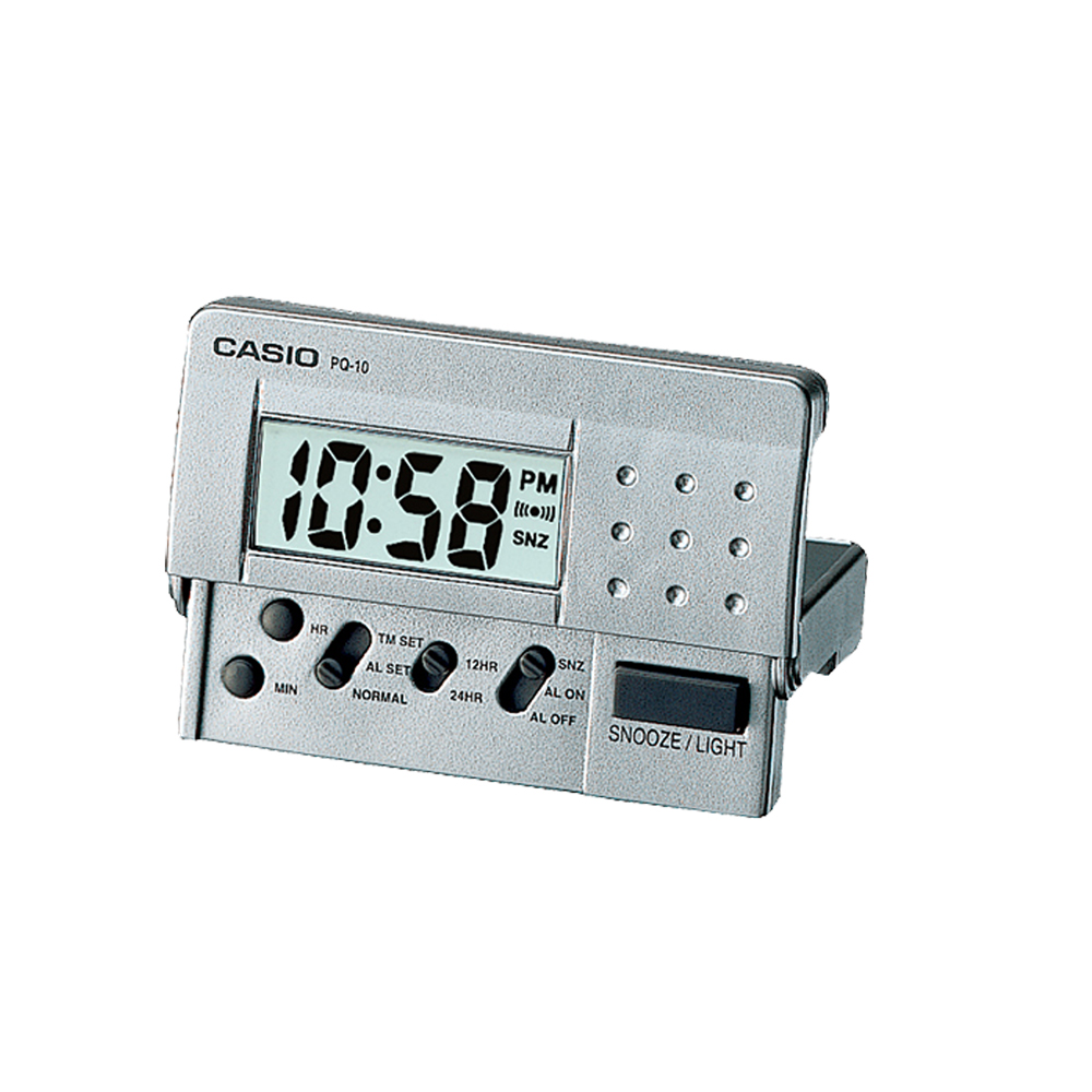 CASIO 輕巧隨身型數字電子鬧鐘(藍、灰、白)