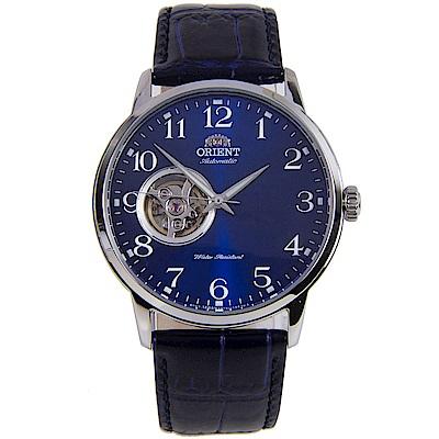 ORIENT 深藍經典自動上鍊鏤空機械男錶(RA-AG0011L10B)-藍/41mm