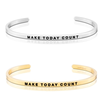 MANTRABAND MAKE TODAY COUNT 把握今天 銀X金 手環組
