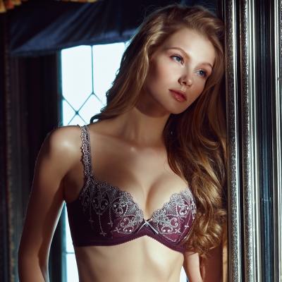 La-Felino-寶石系列3-4罩剪接款內衣成套-魅力紫