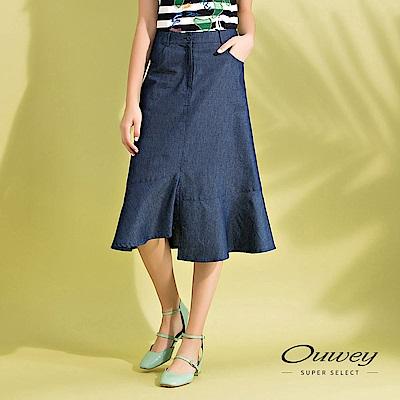 OUWEY歐薇 不規則剪接輕薄牛仔裙(藍)