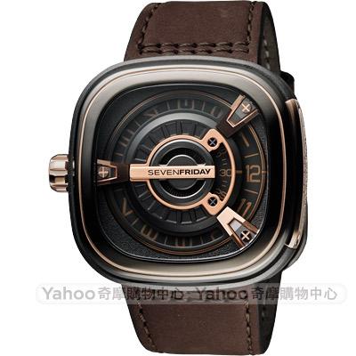 SEVENFRIDAY M2-2 設計師工藝自動上鍊機械錶-玫瑰金x咖啡/47mm