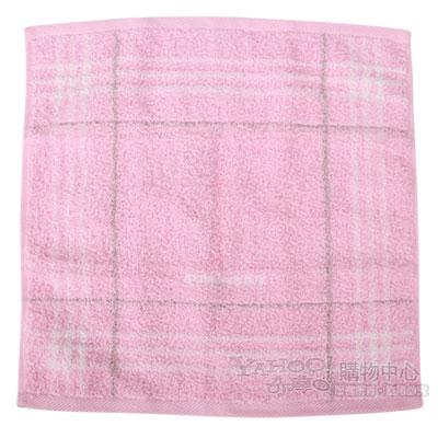 BURBERRY 經典格紋字母刺繡短毛巾-粉紅