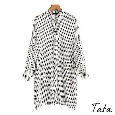 長版寬鬆繫帶九分袖圓點上衣 TATA