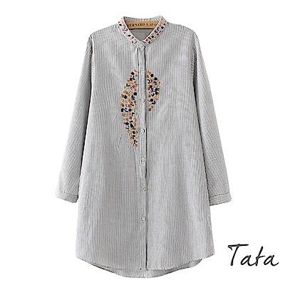 長版立領刺繡條紋上衣 TATA